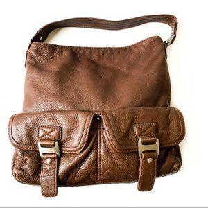 Michael Kors Brown Pebble Leather Shoulder Bag